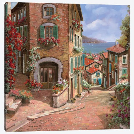 La Discesa Al Mare Canvas Print #GUB103} by Guido Borelli Canvas Art Print