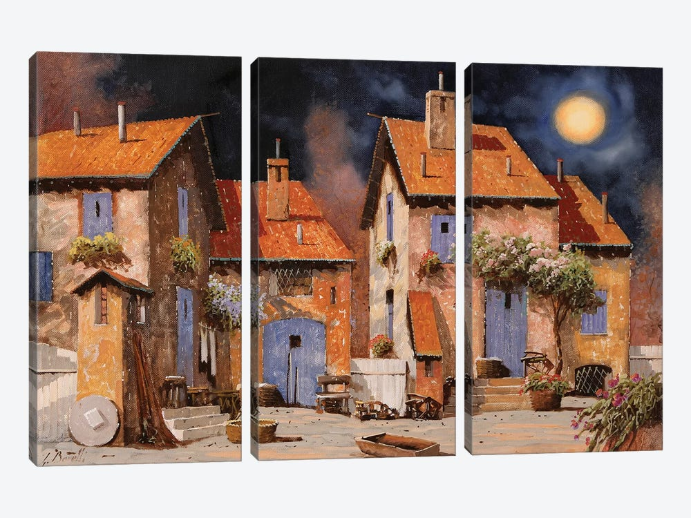 La Luna Gialla by Guido Borelli 3-piece Canvas Wall Art