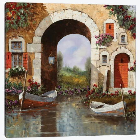 Le Barche Sotto L'Arco Canvas Print #GUB124} by Guido Borelli Canvas Artwork