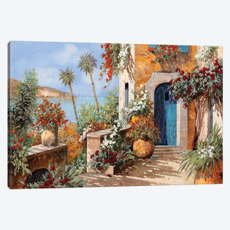 Le Palme E La Porta Blu Canvas Print #GUB128} by Guido Borelli Canvas Print