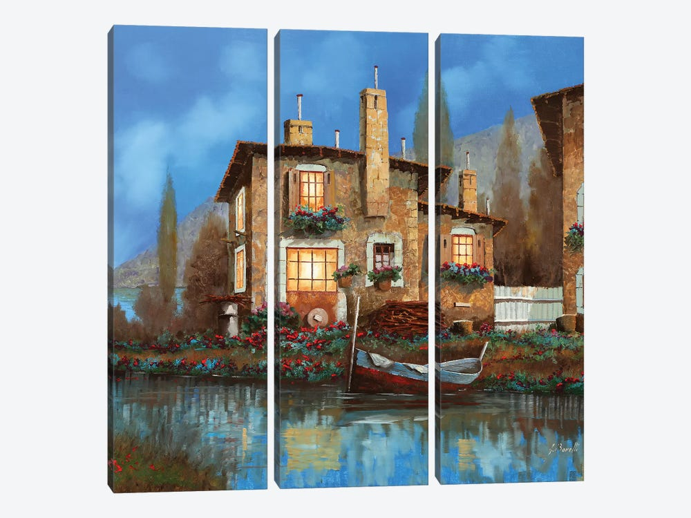 Luci Nel Blu by Guido Borelli 3-piece Canvas Art