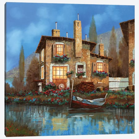 Luci Nel Blu Canvas Print #GUB140} by Guido Borelli Canvas Print