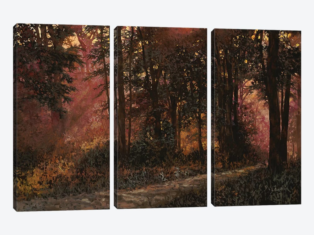 Luci Nel Bosco by Guido Borelli 3-piece Canvas Print
