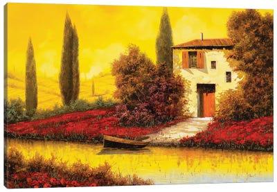 Lungo Il Flume Tra I Papaveri Canvas Art Print