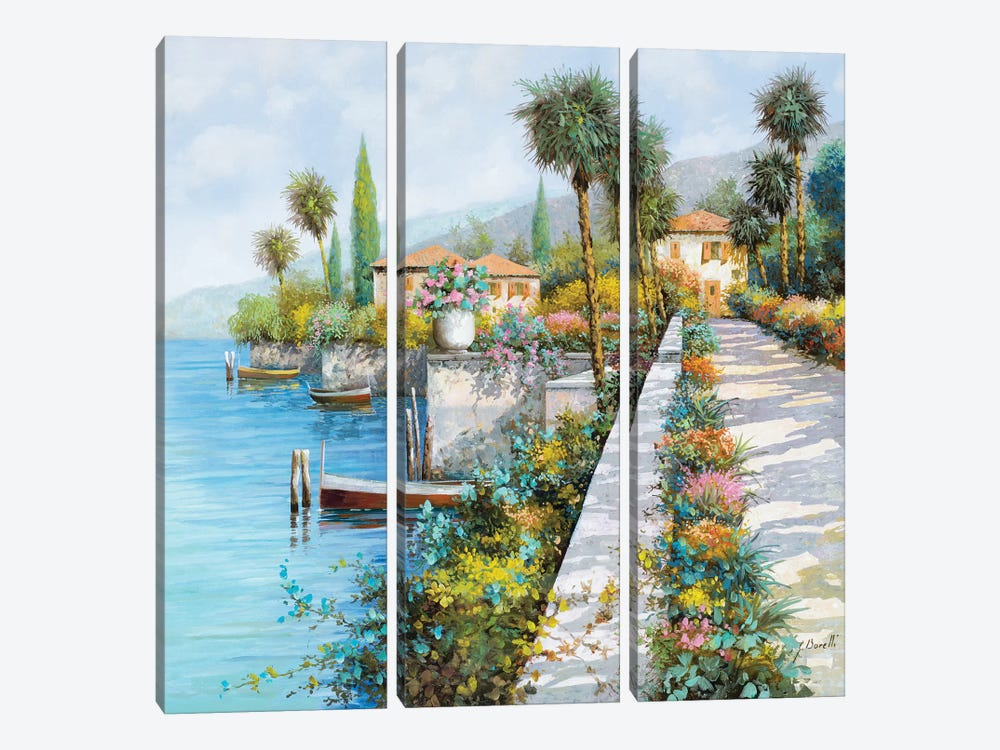 Lungo Lago by Guido Borelli 3-piece Canvas Art Print