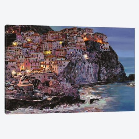 Manarola At Dusk Canvas Print #GUB145} by Guido Borelli Canvas Artwork