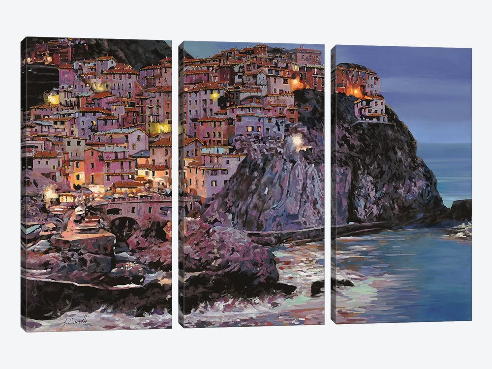 Manarola At Dusk by Guido Borelli 3-piece Canvas Print