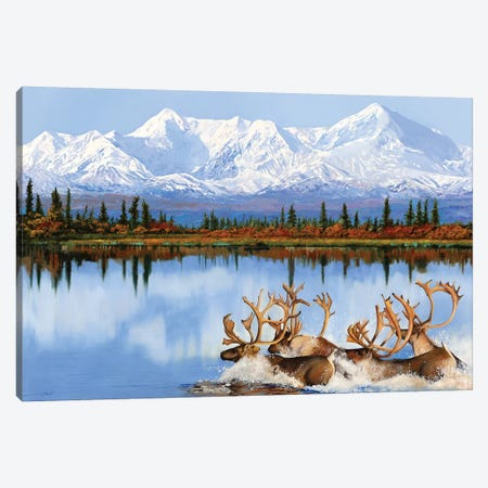 Mount Denili E I Caribou Canvas Print #GUB151} by Guido Borelli Canvas Artwork