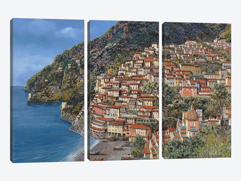 Positano E Torre Clavel by Guido Borelli 3-piece Art Print