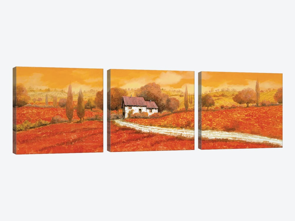 Rosso Papavero by Guido Borelli 3-piece Canvas Art Print
