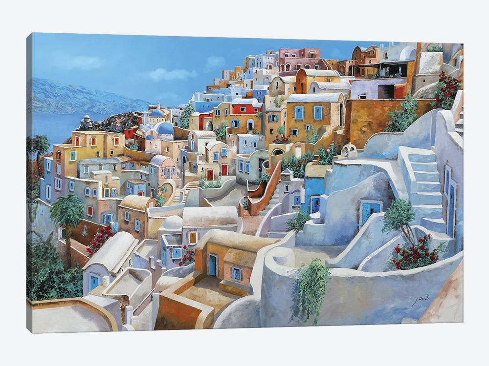 Santorini A Colori by Guido Borelli 1-piece Canvas Art