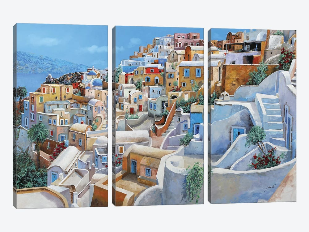 Santorini A Colori by Guido Borelli 3-piece Canvas Art