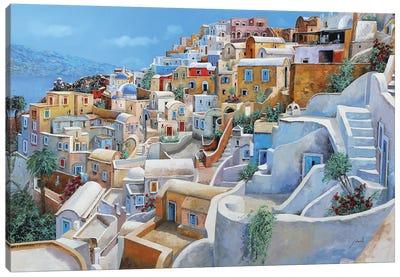 Santorini A Colori Canvas Art Print