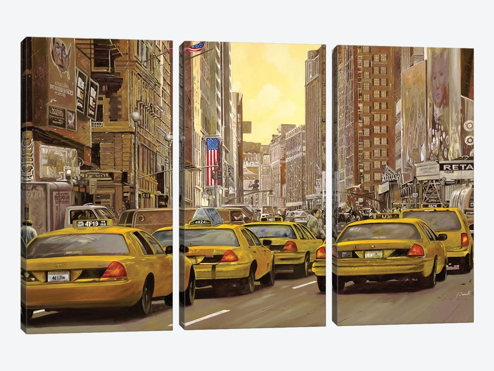 Taxi A New York by Guido Borelli 3-piece Canvas Wall Art