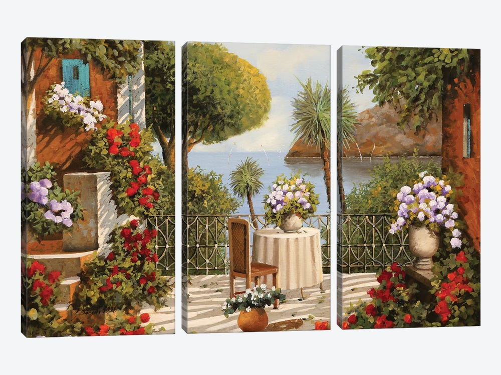 Terrazza Sedia E Vaso A Specchio by Guido Borelli 3-piece Canvas Art Print