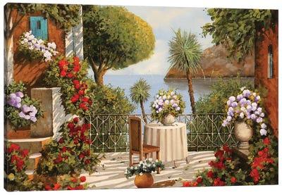 Terrazza Sedia E Vaso A Specchio Canvas Art Print