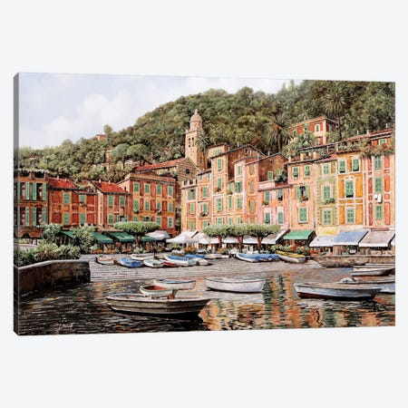 Barche A Portofino Canvas Print #GUB21} by Guido Borelli Canvas Artwork