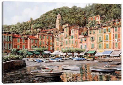 Barche A Portofino Canvas Art Print