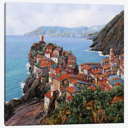 Vernazza A Colori Canvas Print #GUB220} by Guido Borelli Canvas Artwork