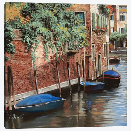 Barche Blu A Venezia Canvas Print #GUB22} by Guido Borelli Canvas Wall Art