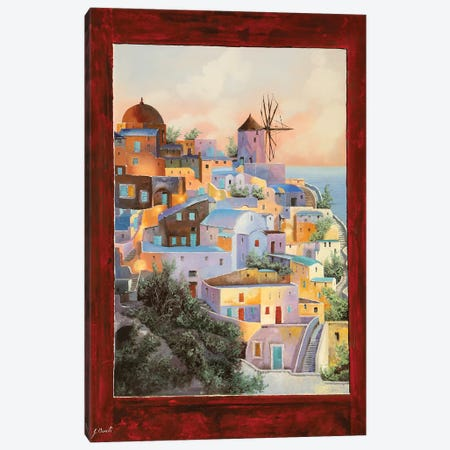 Dalla Finestra Il Mulino A Santorini Canvas Print #GUB54} by Guido Borelli Canvas Artwork