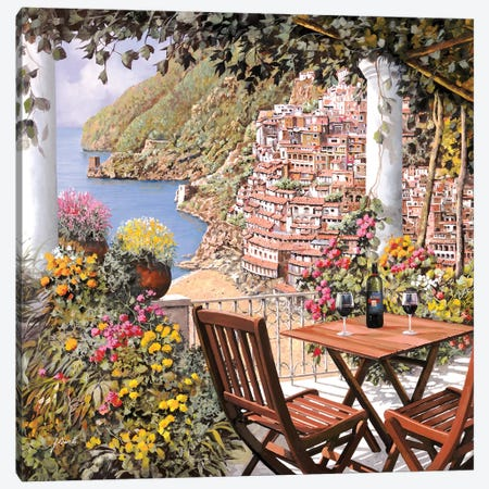 Due Bicchieri A Positano Canvas Print #GUB61} by Guido Borelli Canvas Wall Art