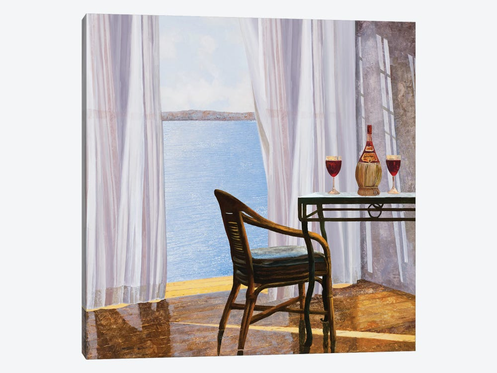 Due Rossi Al Mare by Guido Borelli 1-piece Canvas Art