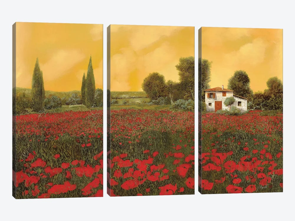 I Paveri E L'Estate Calda by Guido Borelli 3-piece Canvas Wall Art