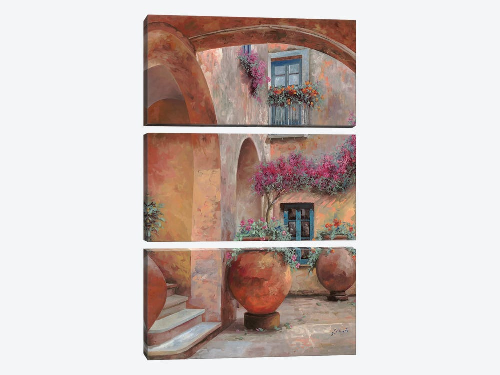 Il Cortile Dell'Arco by Guido Borelli 3-piece Canvas Wall Art