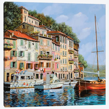 La Barca Rossa Alla Calata Canvas Print #GUB94} by Guido Borelli Canvas Wall Art