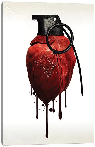 Heart Grenade Canvas Art Print