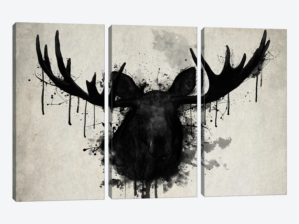 Moose by Nicklas Gustafsson 3-piece Canvas Wall Art