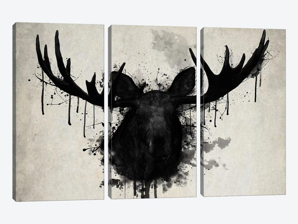 Moose by Nicklas Gustafsson 3-piece Canvas Wall Art