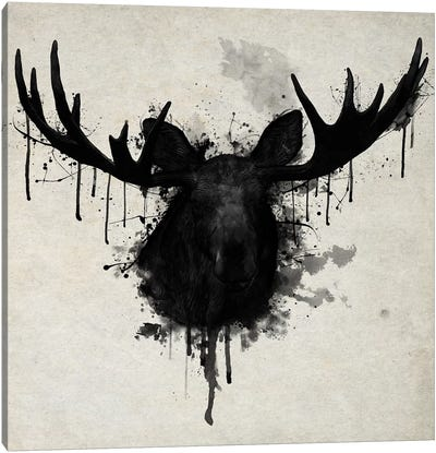 Moose Vertical Canvas Art Print