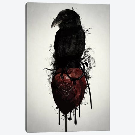 Raven and Heart Grenade Canvas Print #GUS27} by Nicklas Gustafsson Canvas Art