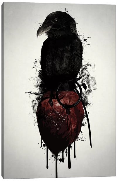 Raven and Heart Grenade Canvas Art Print