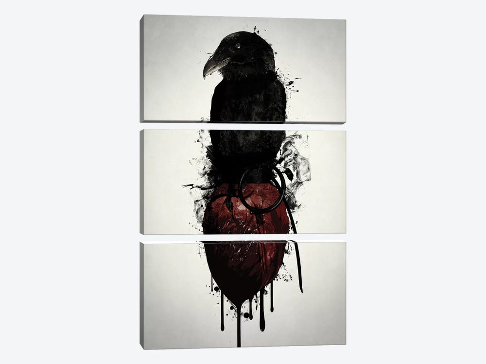 Raven and Heart Grenade by Nicklas Gustafsson 3-piece Canvas Print
