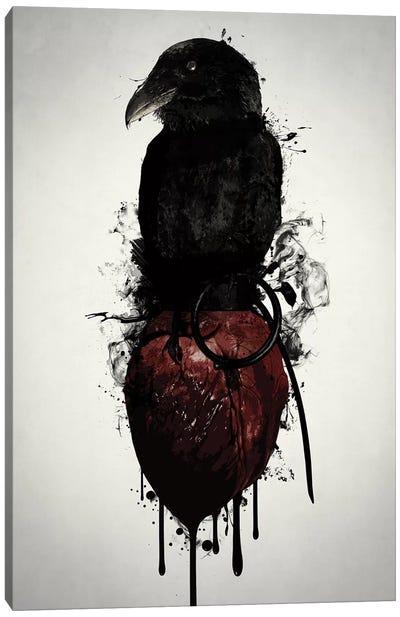 Raven and Heart Grenade Canvas Art Print