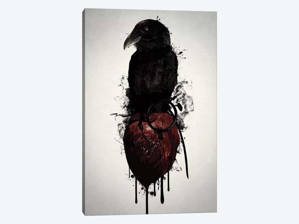 Raven and Heart Grenade by Nicklas Gustafsson 1-piece Canvas Art Print