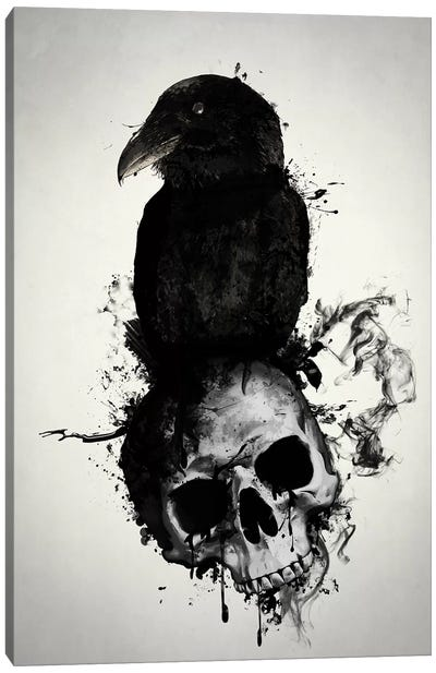 Raven and Skull Canvas Art Print