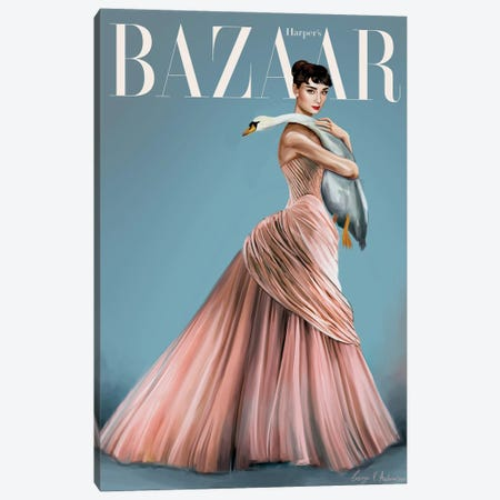 Audrey Hepburn Harper'S Bazaar Cover Canvas Print #GVA19} by George V. Antoniou Canvas Wall Art