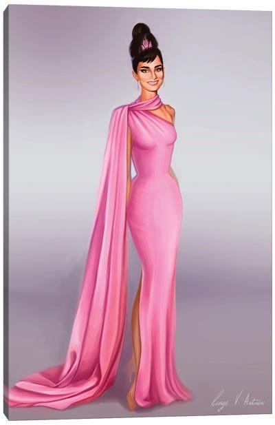 Audrey Hepburn In Pink Canvas Art Print