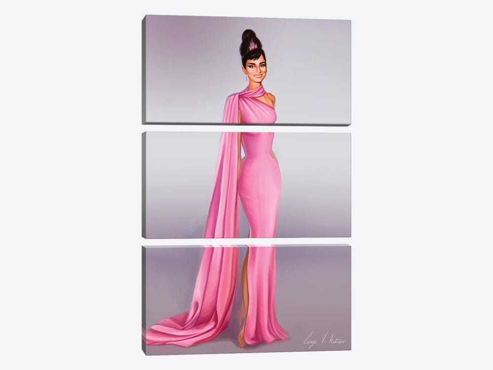 Audrey Hepburn In Pink by George V. Antoniou 3-piece Canvas Artwork