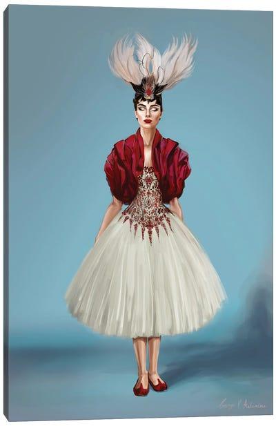 Audrey Hepburn In Mcqueen Canvas Art Print