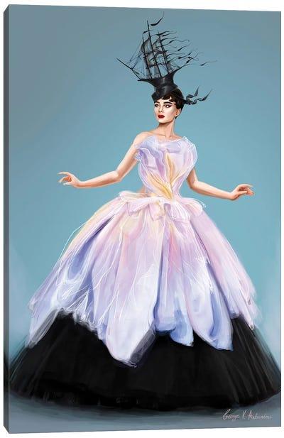 Audrey Hepburn In Dior Canvas Art Print