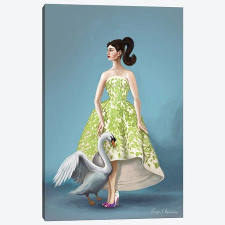 Audrey Hepburn in Oscar de la Renta Canvas Print #GVA37} by George V. Antoniou Art Print