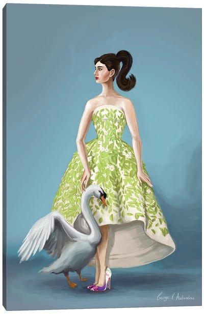Audrey Hepburn in Oscar de la Renta Canvas Art Print
