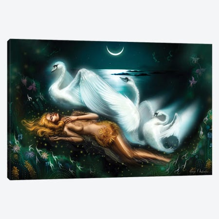 Leda And The Swan Canvas Print #GVA9} by George V. Antoniou Canvas Print