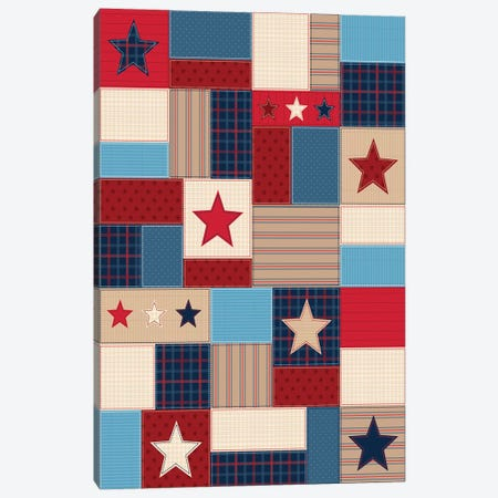 Americana Patriotic Patches I Canvas Print #GVE10} by Gail Veillette Canvas Artwork