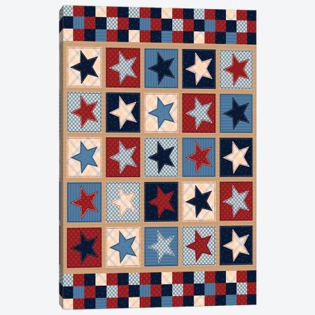 Americana Patriotic Patches II Canvas Print #GVE11} by Gail Veillette Canvas Artwork